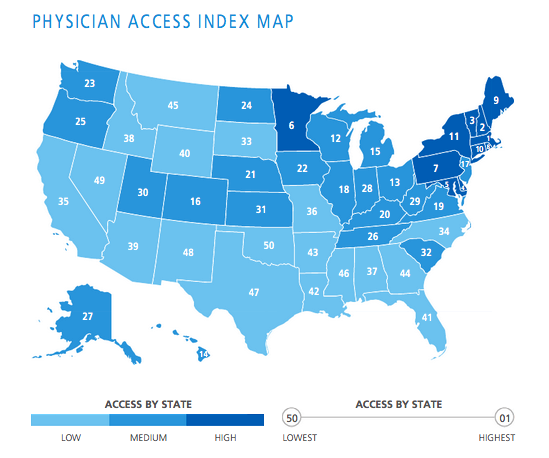The 10 States With The Best Health Care Access: Best, Worst States For Patient Access To Practitioners